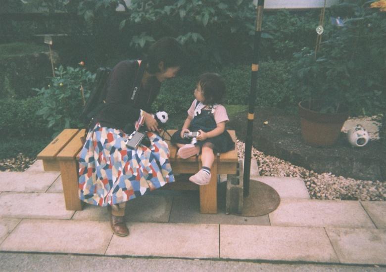 上野ダリア展にて友人と娘