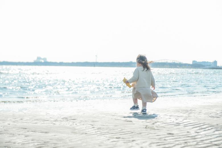 海辺で写真